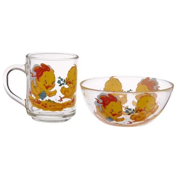 "Детский набор ""Цыплята"", 2 предмета: кружка 200 мл, салатник 250 мл d=13 см, цвет МИКС"
