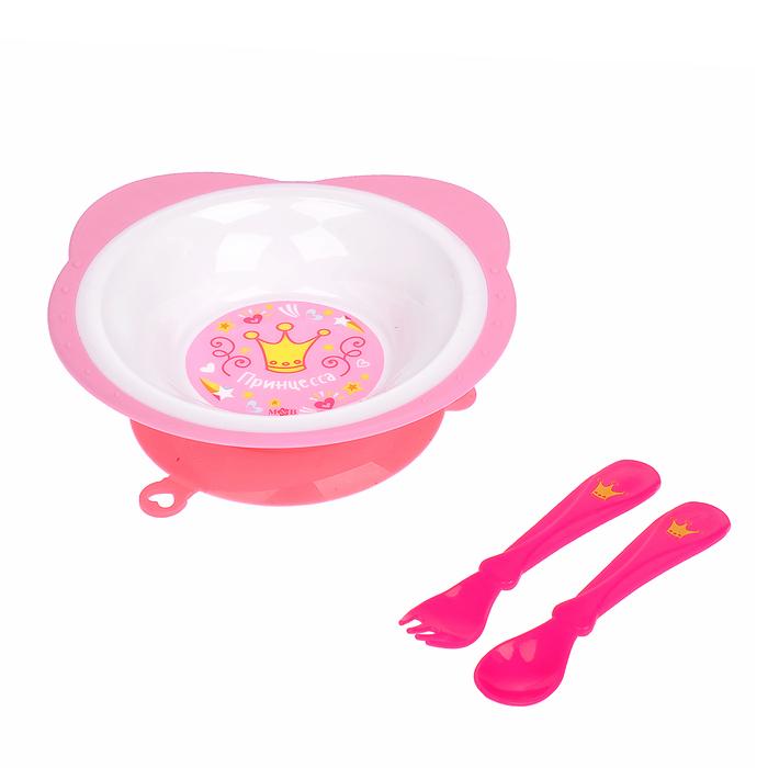 Набор детской посуды «Волшебная принцесса», 3 предмета: тарелка на присоске 250 мл, ложка, вилка, от 5 мес.