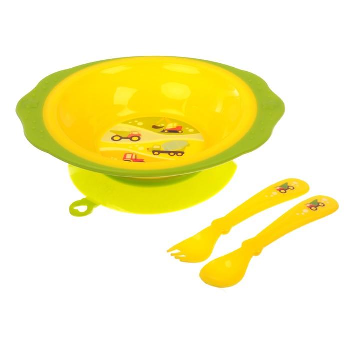 Набор детской посуды «Транспорт», 3 предмета: тарелка на присоске 250 мл, ложка, вилка, от 5 мес.