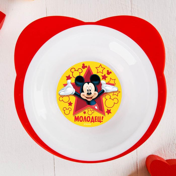"""Посуда детская """"Молодец!"""" Микки Маус тарелка 250 мл, вилка, ложка"""