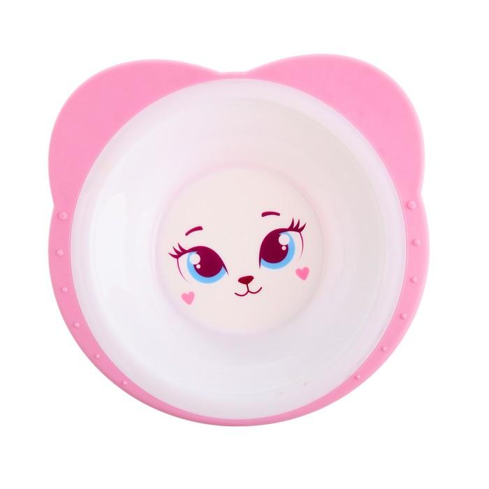Набор посуды «Кошечка Софи», 3 предмета: тарелка на присоске 250 мл, вилка, ложка