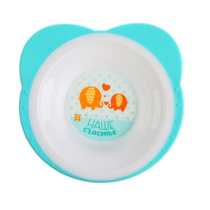 Набор посуды «Слоники», 3 предмета: тарелка на присоске 250 мл, вилка, ложка
