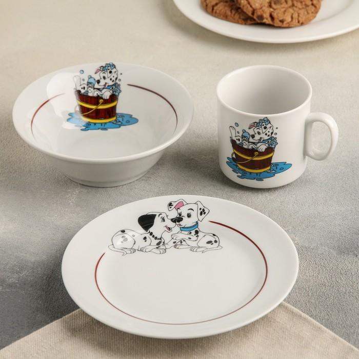 "Набор посуды ""Далматинцы"", 3 предмета: кружка 200 мл, салатник 360 мл, тарелка мелкая 17 см, МИКС"