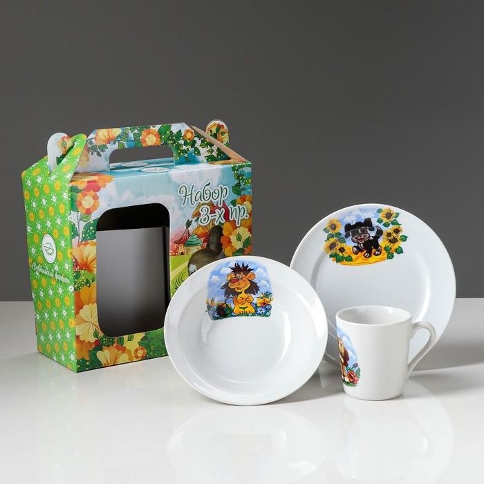 """Набор посуды """"Детство"""" детская тематика, деколь, 3 предмета, микс"""