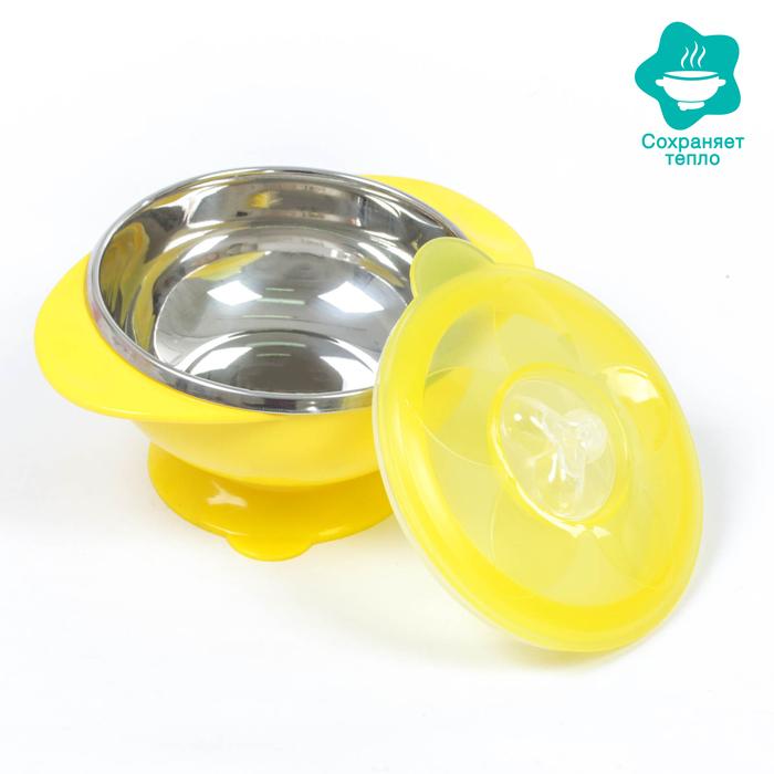 Набор для кормления, 2 предмета: миска на присоске 200 мл, антикоррозийная, крышка, цвет МИКС