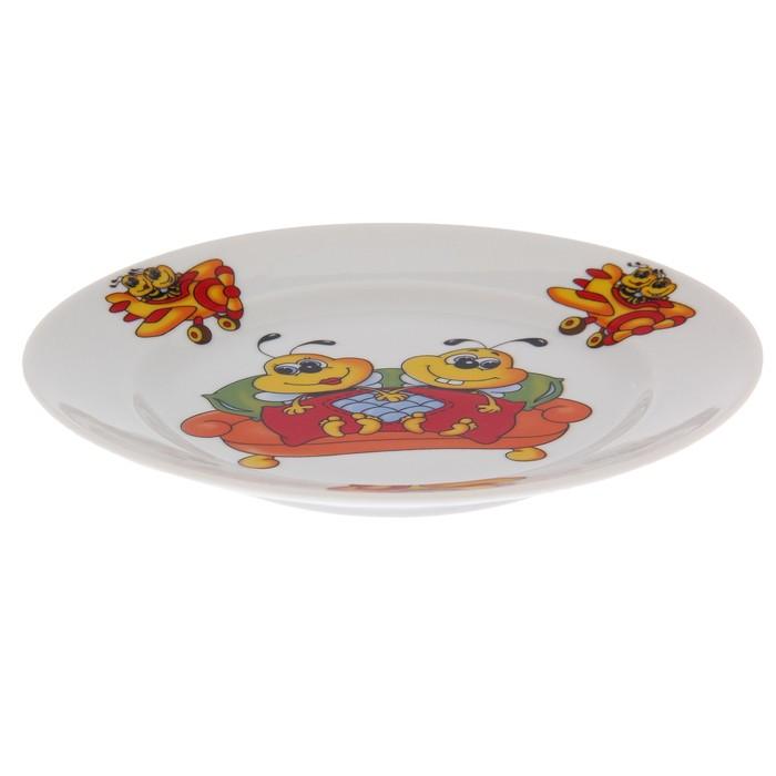 """Набор посуды """"Пчёлы"""", 3 предмета: кружка 250 мл, салатник 350 мл, тарелка мелкая 16,5 см, рисунок МИКС"""