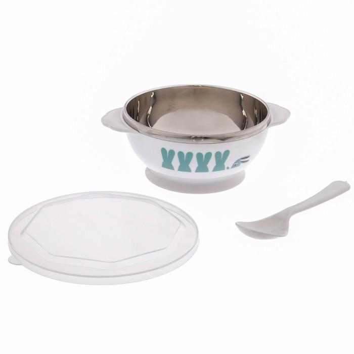 Набор детской посуды, 3 предмета: тарелка, 270 мл, ложка, крышка