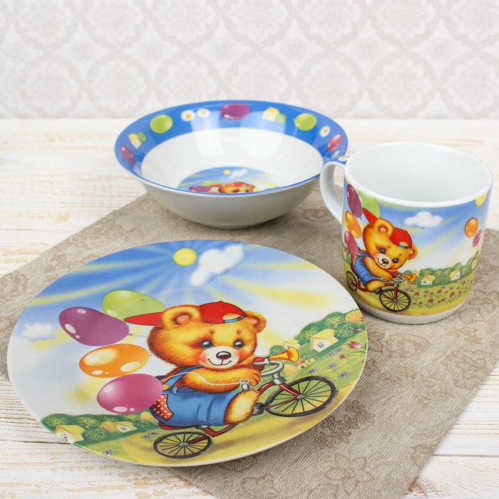 """Набор детской посуды """"Мишка на велосипеде"""", 3 предмета: кружка 230 мл, миска 400 мл, тарелка 18 см"""