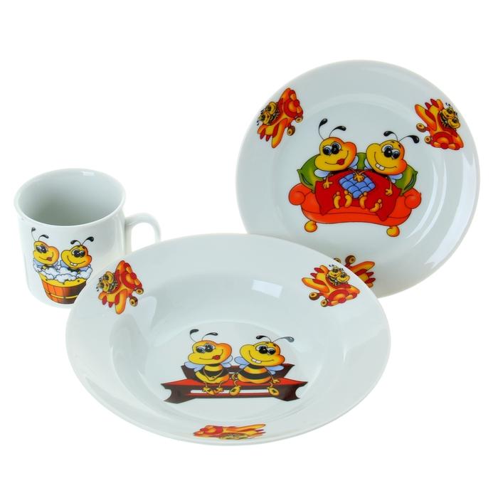 "Набор посуды ""Пчёлы"", 3 предмета: кружка 200 мл, тарелка глубокая 230 мл d=20 см, тарелка мелкая d=17 см"