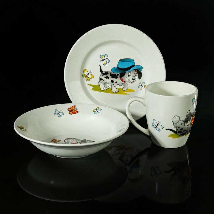 """Набор детской посуды """"Озорные щенки"""", 3 предмета: тарелка 17,5 см, миска 250 мл (17,5 см), кружка 260 мл, рисунок МИКС"""
