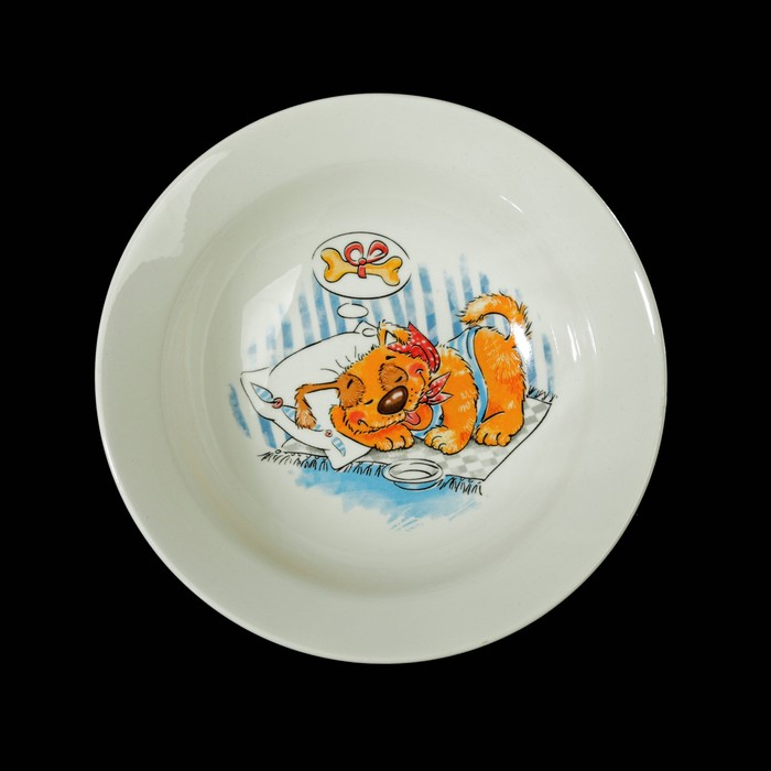 """Набор посуды """"Дружок"""", 3 предмета: кружка 260 мл, тарелка мелкая 17,5 см, тарелка глубокая 17,5 см"""