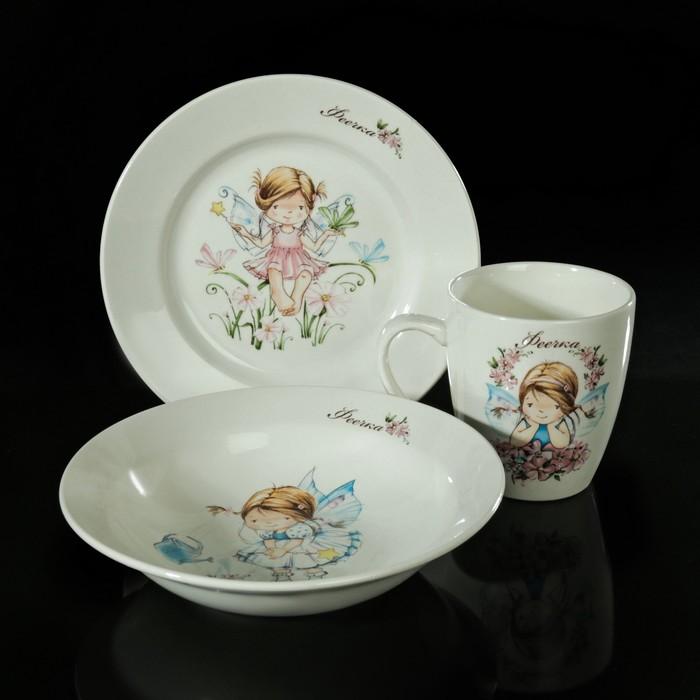 "Набор детской посуды ""Феечки"", 3 предмета: тарелка 17,5 см, миска 250 мл (d=17,5 см), кружка 260 мл, рисунок МИКС"