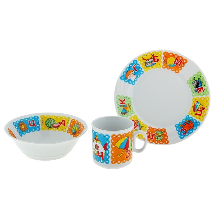 "Набор посуды ""Азбука"", 3 предмета: кружка 200 мл, салатник 360 мл, тарелка мелкая 17 см"