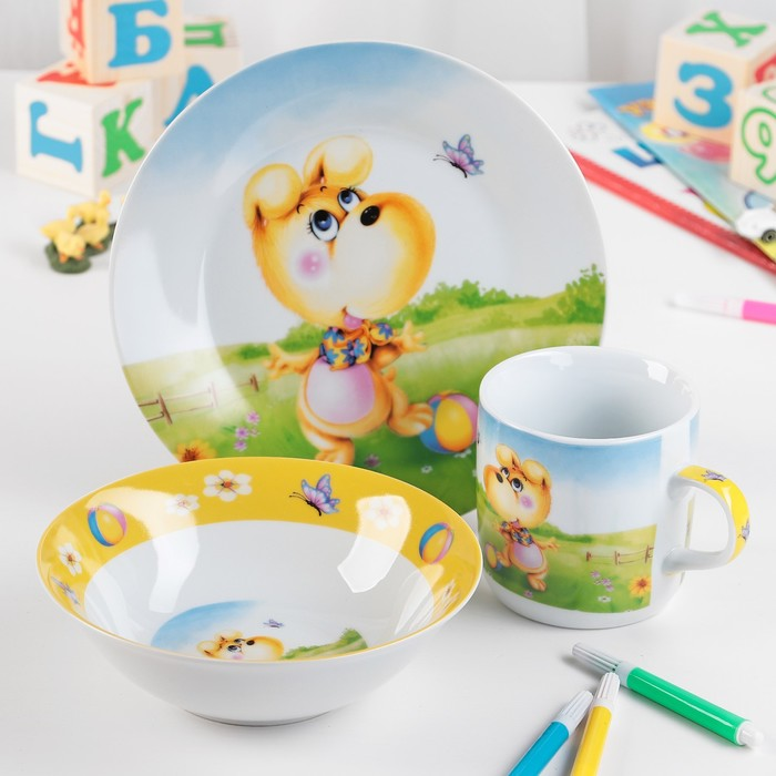 """Набор детской посуды """"Дружок"""", 3 предмета: кружка 230 мл, миска 400 мл, тарелка d=18 см"""