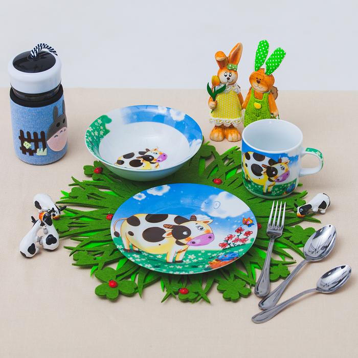 """Набор детской посуды """"Гаврюша"""", 3 предмета: кружка 230 мл, миска 400 мл, тарелка 18 см"""