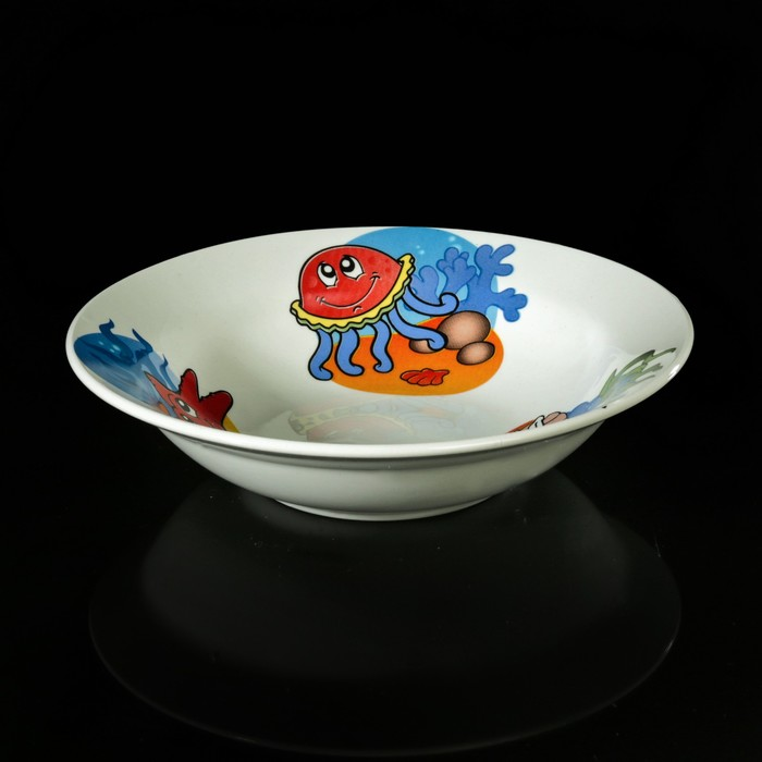 """Набор детской посуды """"Морской мир"""", 3 предмета: тарелка 17,5 см, миска 250 мл (17,5 см), кружка 260 мл, рисунок МИКС"""