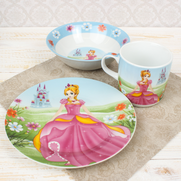 "Набор детской посуды ""Волшебница"", 3 предмета: кружка 10,5х7,5 см, миска 15х4,5 см, тарелка 18х2 см"