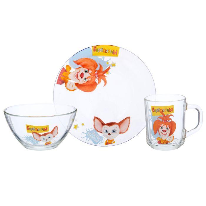 """Набор посуды """"Барбоскины"""", 3 предмета: кружка 240 мл, салатник d=13 см 250 мл, тарелка d=19,5 см"""