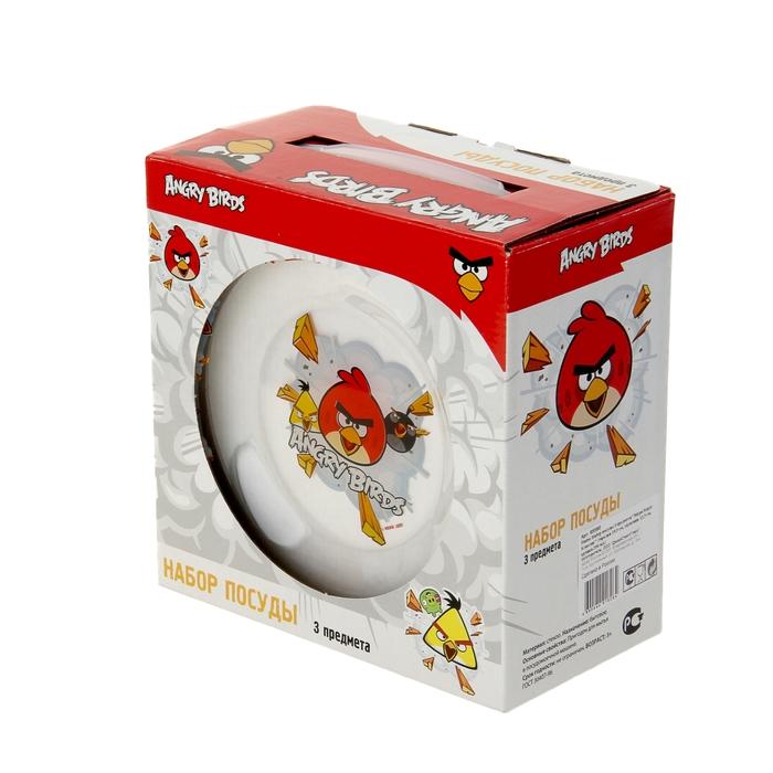 """Набор детской посуды """"Angry Birds. Классик"""", 3 предмета: кружка 250 мл, тарелка 19,5 см, салатник 12,5 см"""