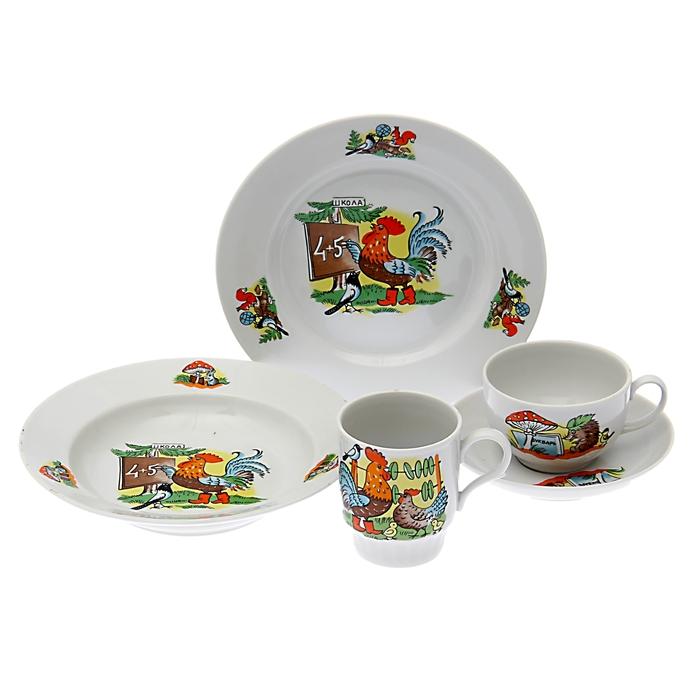 "Набор посуды ""Школа"", 5 предметов: чайная пара 210 мл, тарелка мелкая 20 см, тарелка глубокая 20 см, кружка 210 мл"