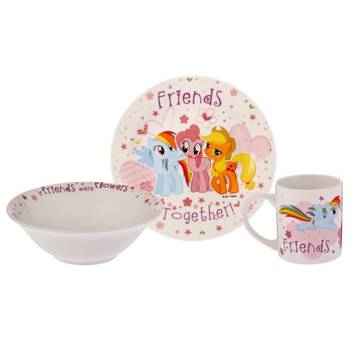 Набор My Little Pony, 3 предмета: кружка 240 мл, миска 18 см, тарелка 19 см, в подарочной упаковке