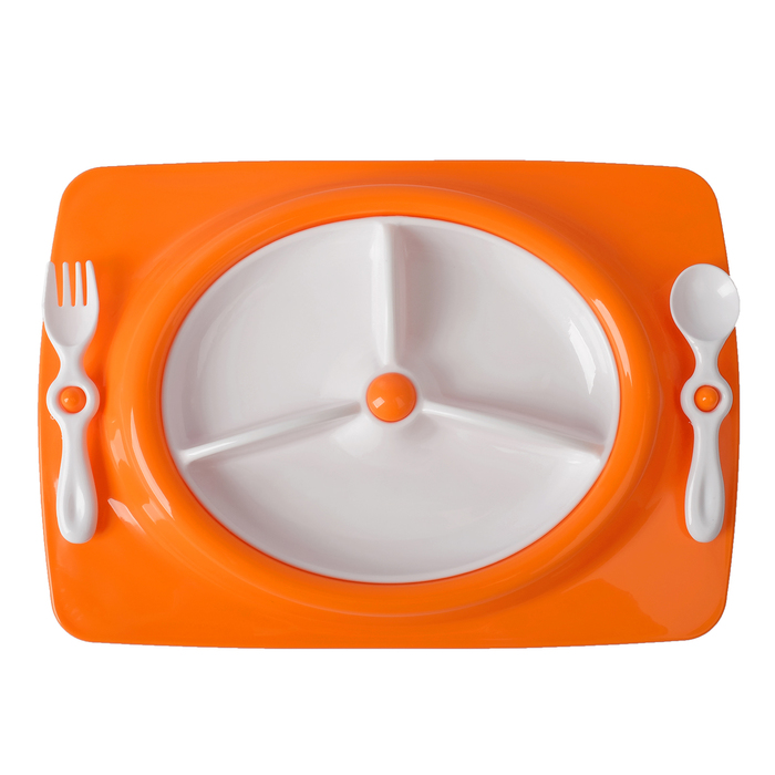 Набор детской посуды, 4 предмета: тарелка трёхсекционная, подставка, ложка, вилка, от 5 мес., цвет оранжевый