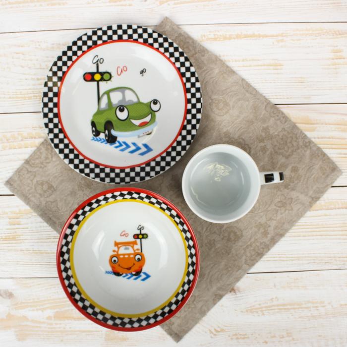 "Набор детской посуды ""Светофор"", 3 предмета: кружка 230 мл, миска 400 мл, тарелка 18 см"