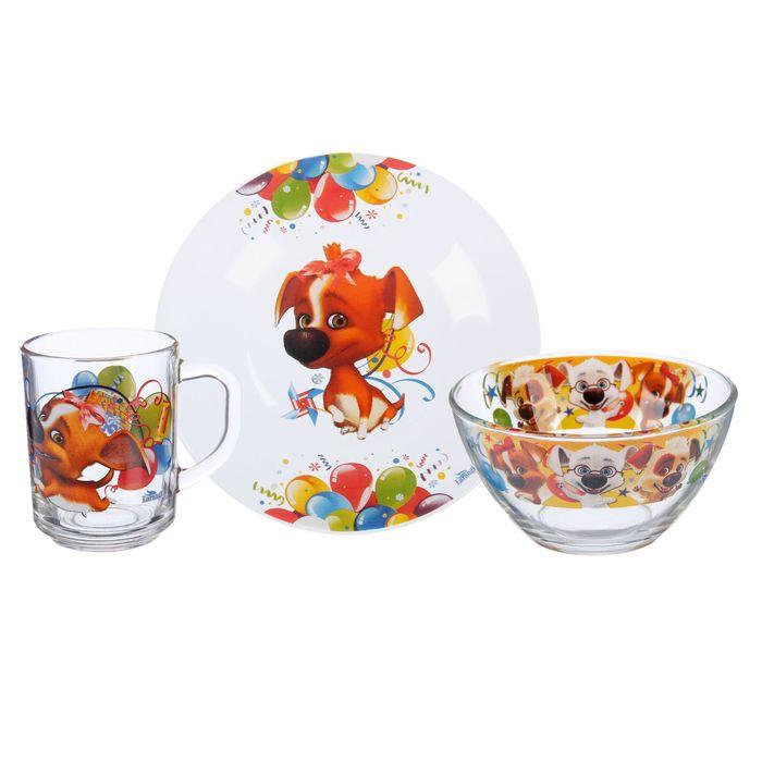 "Набор посуды ""Озорная семейка. Кокетка Дина"", 3 предмета: тарелка 19 см, кружка 210 мл, салатник 13 см 250 мл"