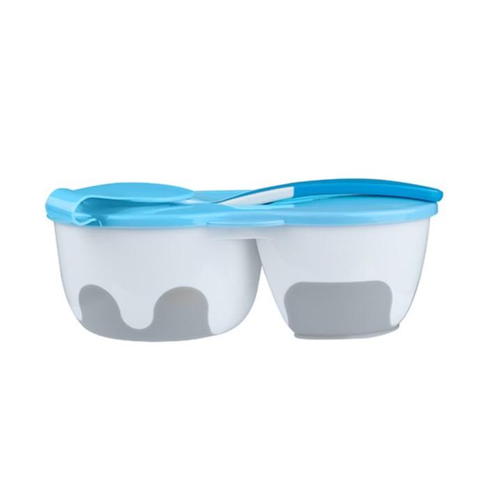 Набор детской посуды, 3 предмета: тарелка двухсекционная, крышка, ложка, цвет синий