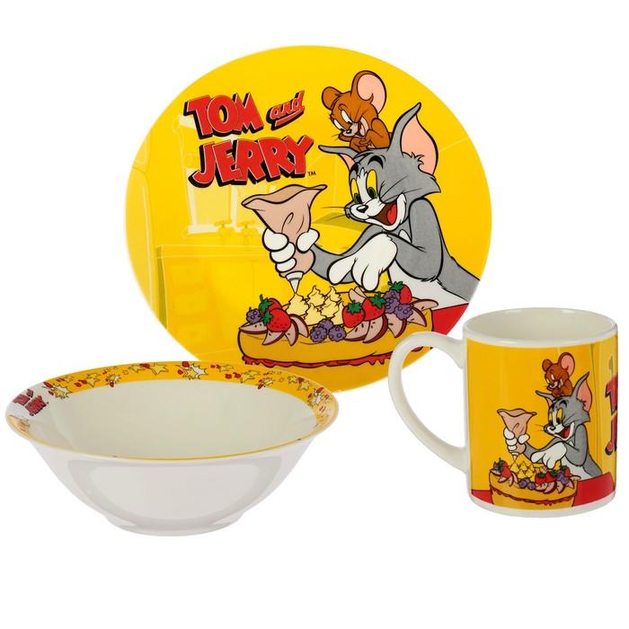 """Набор посуды """"Том и Джерри"""", 3 предмета: кружка 220 мл, тарелка 19 см, салатник 520 мл"""