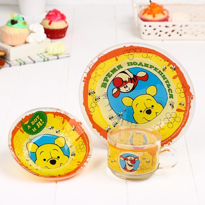 """Посуда детская """"Время подкрепиться"""" Медвежонок Винни и его друзья, кружка,тарелка,пиалка"""