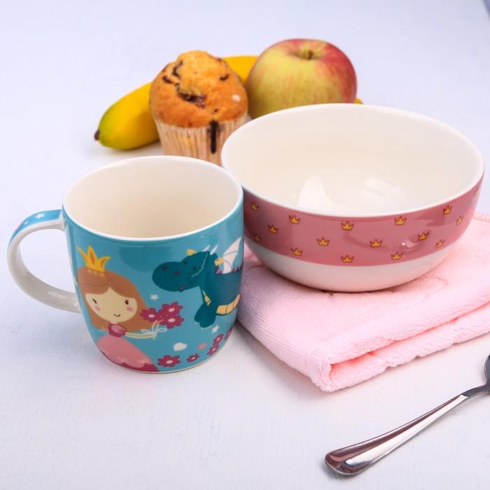 """Набор детской посуды """"Принцесса"""", кружка 250 мл, тарелка глубокая 13 см, полотенце 30 х 30 см"""