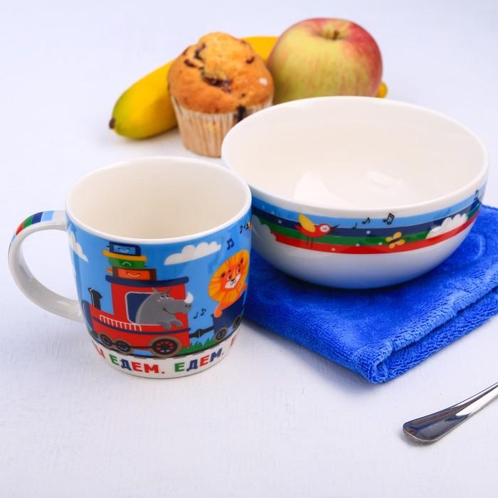 """Набор детской посуды """"Весёлый поезд"""", кружка 250 мл, тарелка глубокая 13 см, полотенце 30 х 30 см"""