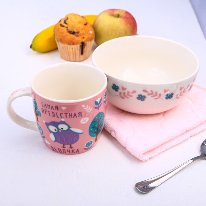"""Набор детской посуды """"Самая прелестная"""", кружка 250 мл, тарелка глубокая 13 см, полотенце 30 х 30 см"""