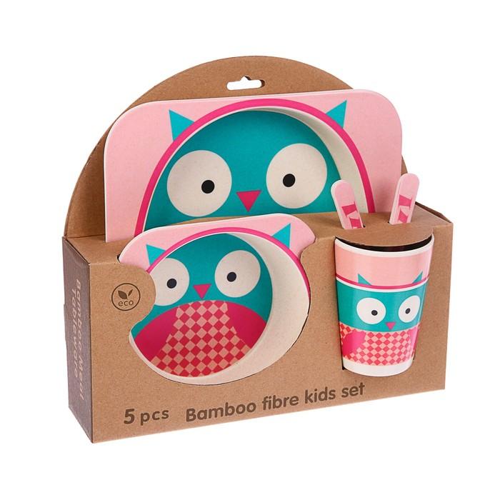 Набор детской посуды из бамбука «Совушка», 5 предметов: тарелка, миска, стакан, столовые приборы