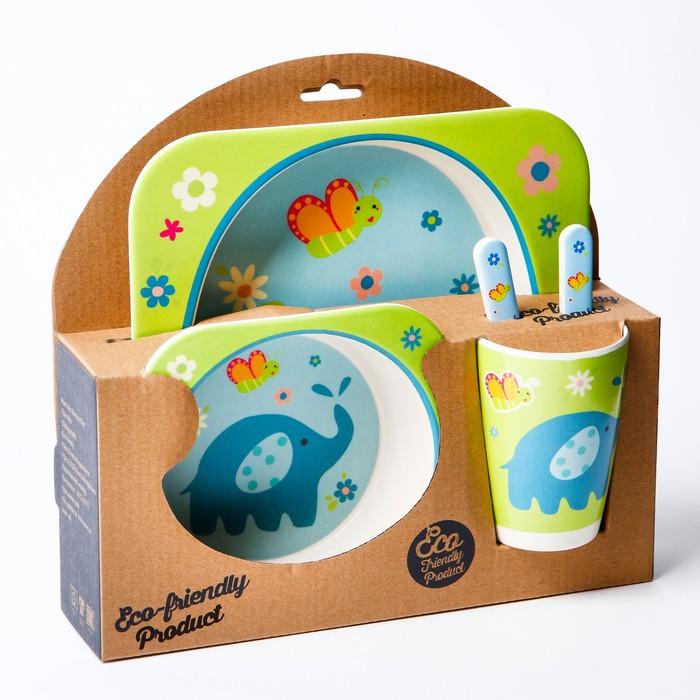 Набор детской посуды «Слоник», из бамбука, 5 предметов: тарелка, миска, стакан, столовые приборы