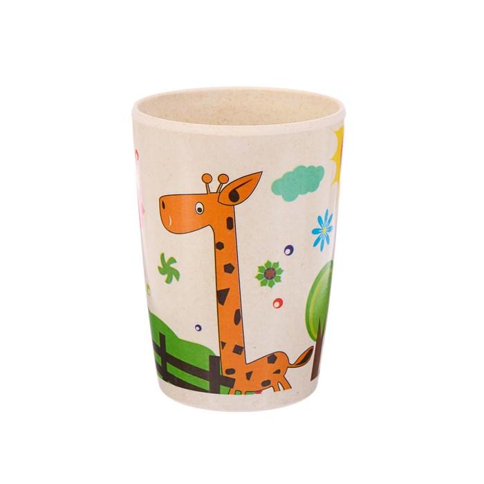 Набор детской посуды из бамбука «Жирафик и радуга», 5 предметов: тарелка, миска, стакан, столовые приборы