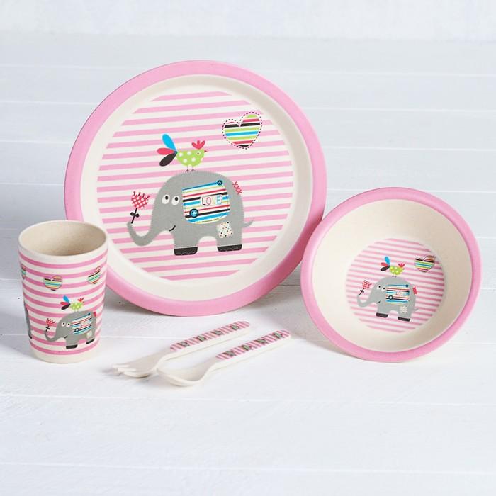 Набор детской посуды из бамбука «Розовый слоник», 5 предметов: тарелка, миска, стакан, столовые приборы