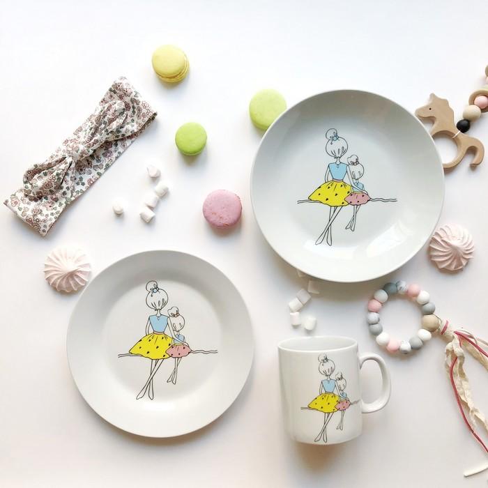 "Набор посуды ""Мама"", 3 предмета: кружка, тарелка глубокая, тарелка плоская"