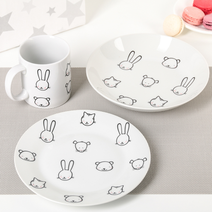 "Набор посуды ""Ферма"", 3 предмета: кружка, глубокая тарелка, мелкая тарелка"