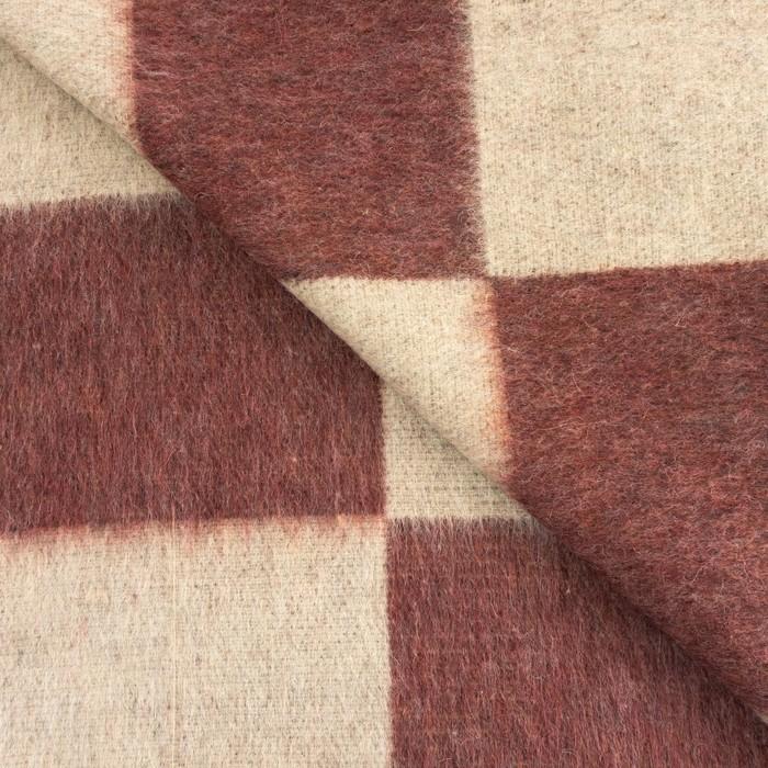 Одеяло полушерстяное, 500 г/м2, 140х205 клетка МИКС бордо, 70% шерсть, 30% лавсан