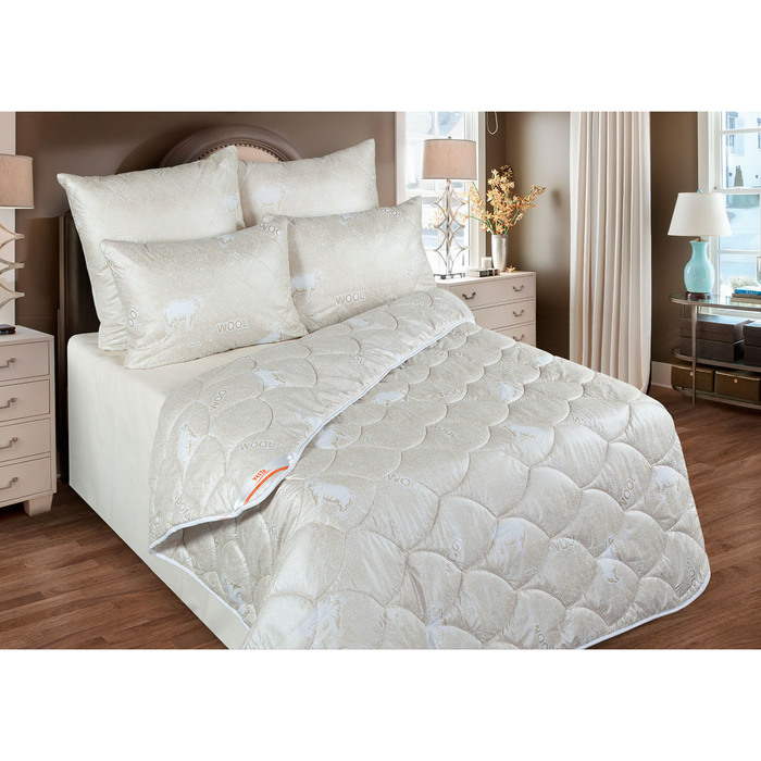 Одеяло станд. 140*205, ОМШ/300-15эк1, шерсть мериноса, ткань глосс-сатин,п/э