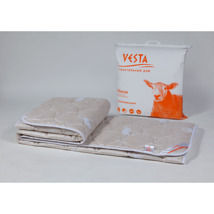 Одеяло станд. 220х205 см, шерсть мериноса, ткань глосс-сатин, п/э 100%