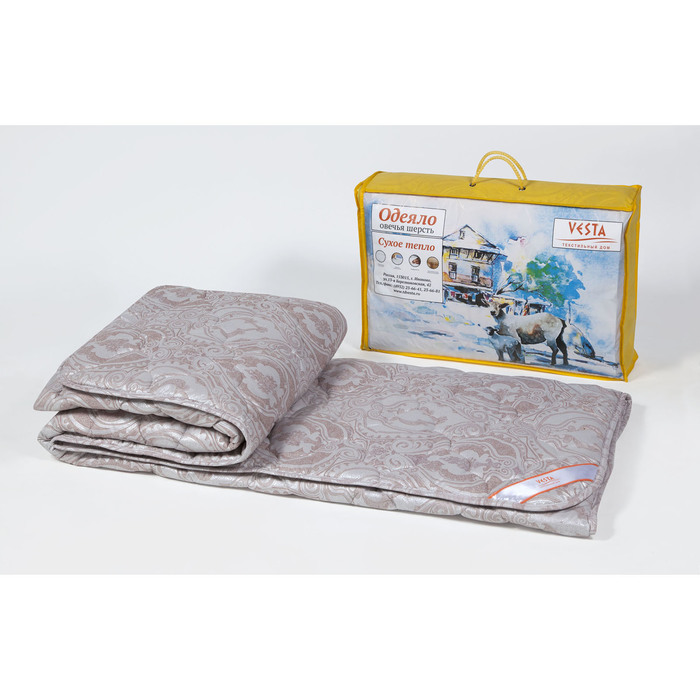 Одеяло 172х205 см, шерсть овечья, ткань тик, п/э 100%
