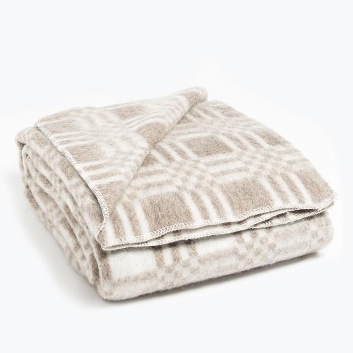 Одеяло полушерстяное 140х205 клетка звездочка, кофе, 70% шерсти, 30 % полиэстер
