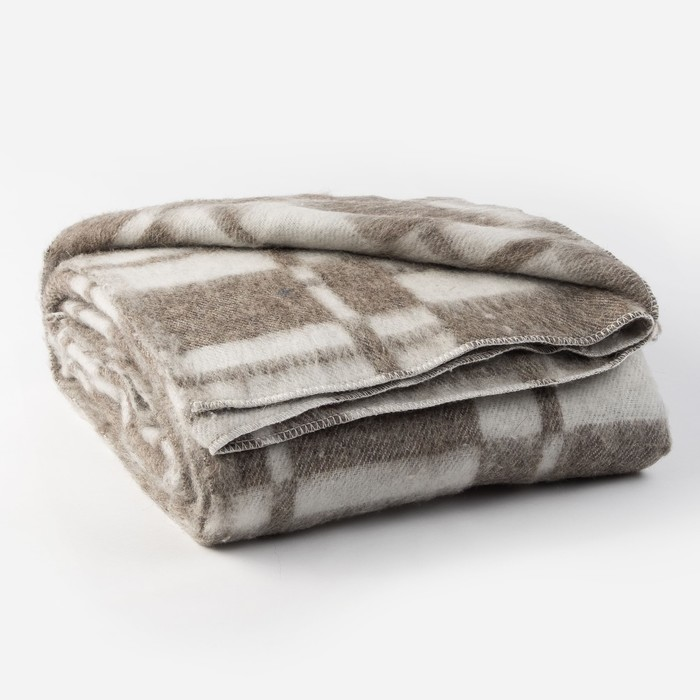 Одеяло полушерстяное 140х205 клетка шахматы, кофе, 70% шерсти, 30 % полиэстер
