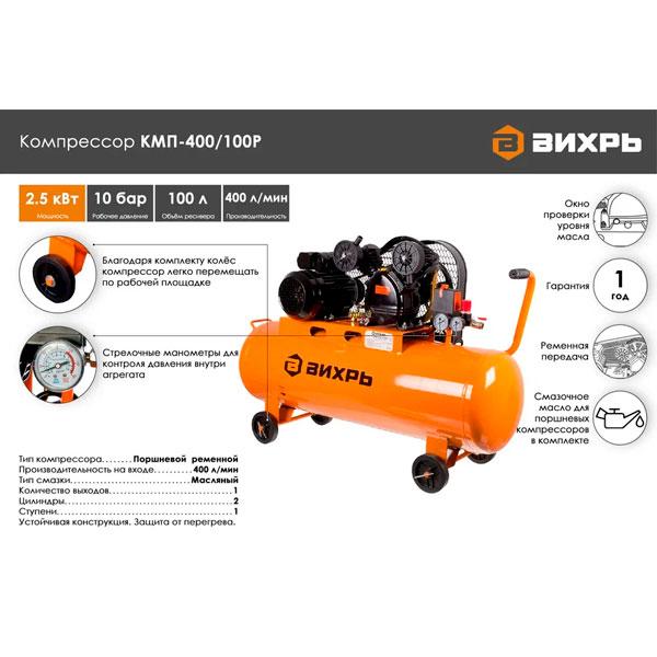 Воздушный компрессор Вихрь КМП-400/100P