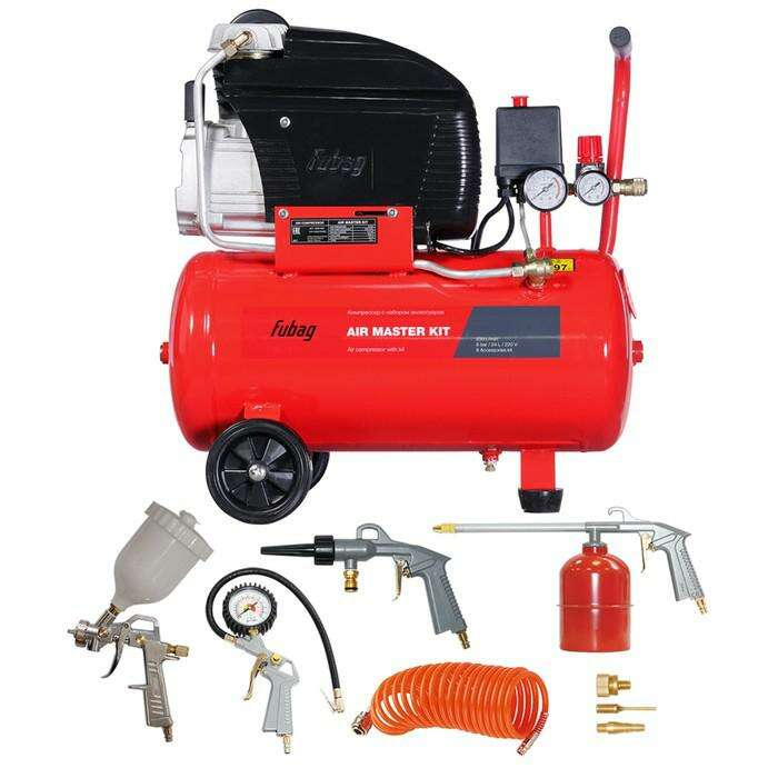 Компрессор Fubag FC 230/24 AIR MASTER KIT, 1.5 кВт, 24 л, 220В, 6 предметов