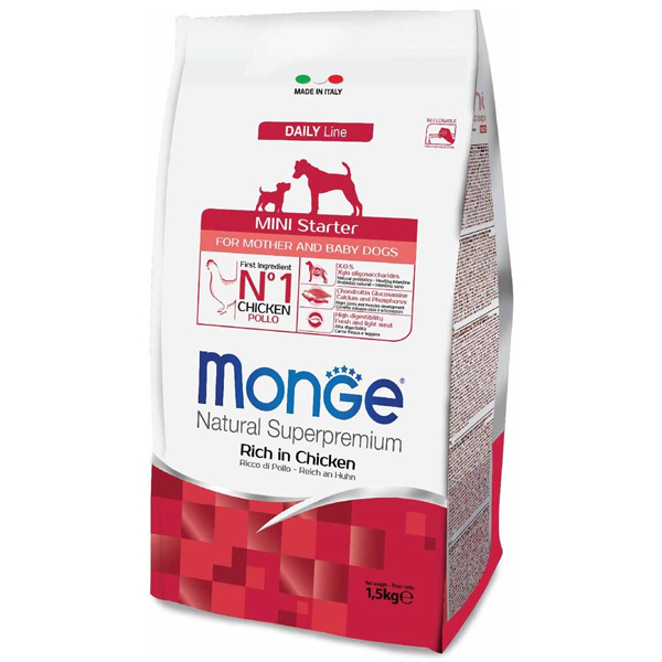 Сухой корм Monge Mini Starter for Mother and baby для щенков мелких пород (с 2-х недель), беременных и кормящих собак