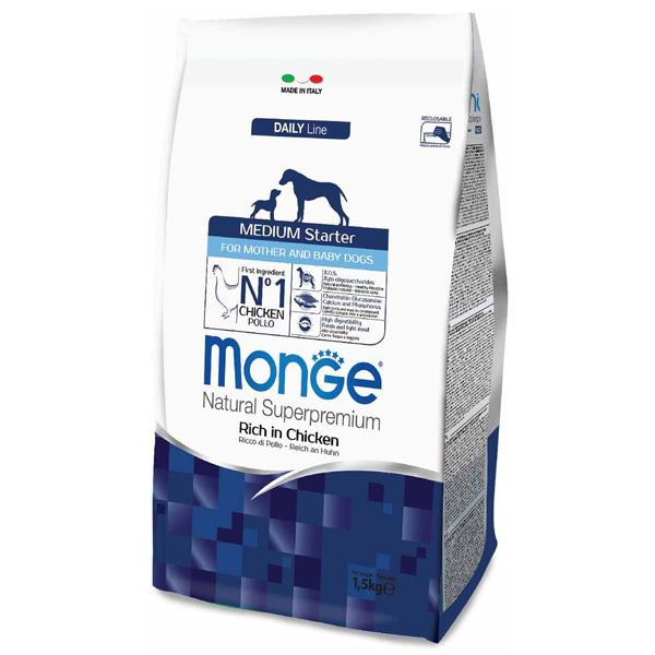 Сухой корм Monge Medium Starter for Mother and baby для щенков средних пород (с 3-х недель), беременных и кормящих собак
